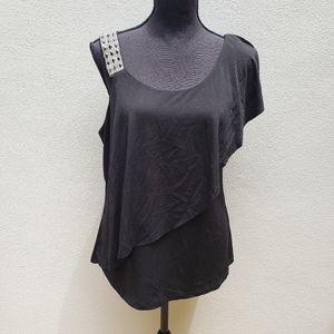 Belldini black jeweled shoulder flowy blouse